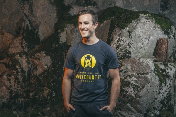 Grey flected t-shirt with Backcountry logo in yellow