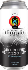 Backcountry Brewing - Missed The Starting Gun | 13 Week Lager - Front of Can