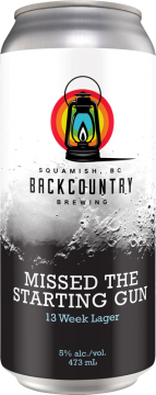 Backcountry Brewing - Missed The Starting Gun   13 Week Lager - Front of Can