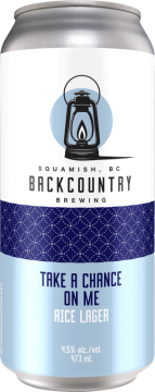 Backcountry Brewing - Take A Chance On Me   Rice Lager - Front Of Can