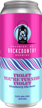 Backcountry Brewing   Violet You're Turning Violet   Blueberry Pie Sour - Front of Can