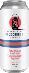 Backcountry Brewing | Haven't We Had This Conversation Before | Czech Pilsner - Front of Can