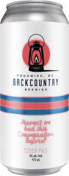 Backcountry Brewing   Haven't We Had This Conversation Before   Czech Pilsner - Front of Can