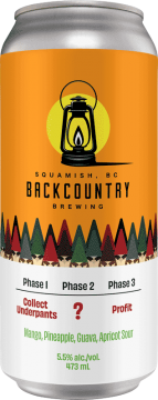 Backcountry Brewing | Phase 1: Collect Underpants, Phase 2: ?, Phase 3: Profit | Mango, Pineapple, Guava, Apricot Sour - Front of Can