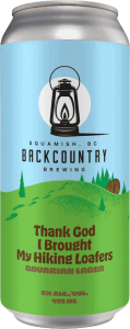 Backcountry Brewing | Thank God I Brough My Hiking Loafers | Bavarian Lager - Front Of Can