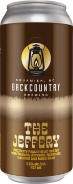 Backcountry Brewing | The Jeffery | Cranberry Passionfruit Tart Ale with Walnuts, Almonds, Hazelnuts, Coconut and Tonka Bean - Front of Can