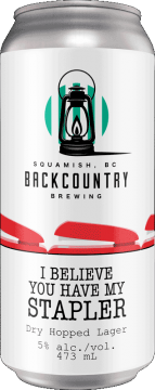 Backcountry Brewing   I Believe You Have My Stapler   Dry Hopped Lager - Front of Can