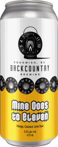 Backcountry Brewing | Mine Goes To Eleven | Mango Coconut Lime Sour - Front of Can