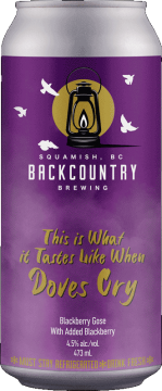 Backcountry Brewing   This Is What It Tastes Like When Doves Cry   Blackberry Goes with Added Blackberry - Front of Can