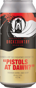 Backcountry Brewing | Sounds A Little Old Fashioned Doesn't It? Pistols At Dawn | Bourbon Barrel Aged Sour - Front of Can